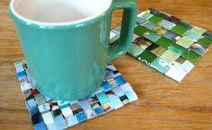 DIY Magazine Coasters - a great way to repurpose your old magazines. Recycled Magazines, Old Magazines, Recycled Crafts, Recycled Glass, How To Make Coasters, Diy Coasters, Cute Crafts, Crafts To Make, Diy Crafts