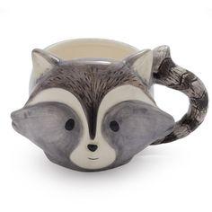 Raccoon Mug ($12) ❤ liked on Polyvore featuring home, kitchen & dining, drinkware, coffee mugs, chocolate mug, sur la table and cocoa mugs