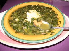 Seafood callaloo with a dollop of funji from Cuzzin's Restaurant on St Thomas, US Virgin Islands.
