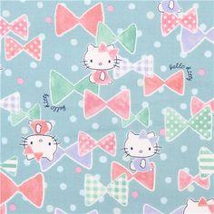 mint green Hello Kitty ribbon confetti oxford fabric by Kokka from Japan 1