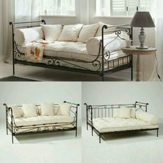 Wrought iron daybed with cushions. Wrought iron daybed with cushions. Iron Furniture, Home Furniture, Daybed Room, Wrought Iron Decor, Guest Room Office, New Room, Home Furnishings, Bedroom Decor, Interior Design