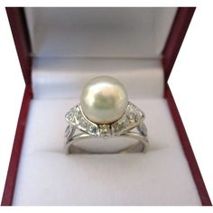 Elegant Estate 585 14K White Gold, Diamond and Cultured Pearl Ring, Size 6-1/2