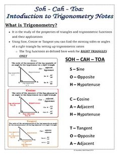 SOH CAH TOA (SIN, COS, TAN) INTRODUCTION TO TRIGONOMETRY NOTES AND PRACTICE - TeachersPayTeachers.com