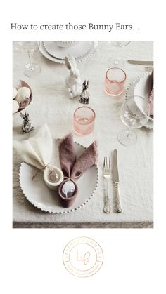 Ever wondered how to create those napkin bunny ears for your Easter table? Look no further, its so easy. Just take a look at our quick video guide. Superb Easter styling that is so effective but so quick and easy to do! #easterbunny #bunnyears
