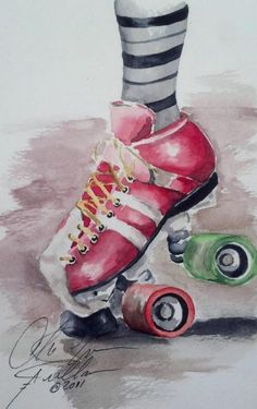 "Roller derby skate series #2 Watercolor 6""x9"" by Christina Arellano"