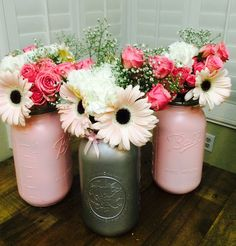 Centerpieces for my pink and gray baby shower Mason jar centerpieces