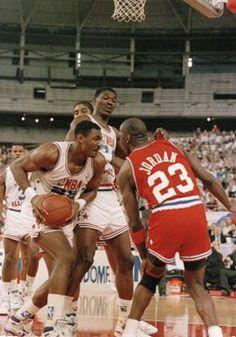 Karl Malone, Hakeem Olajuwon and Michael Jordan