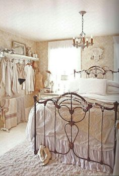 Victorian Vintage Inspired Shabby Chic Bedroom.