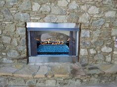 A new ventless gas fireplace w/remote control. Gas Fireplace, Fireplaces, Stone Masonry, Outdoor Kitchens, Pond, Remote, Nursery, Fireplace Set, Day Care