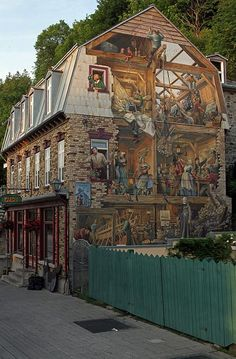 Fresco Wall Art Painting In Quebec City by Juergen Roth - Fresco Wall Art Painting In Quebec City Photograph - Fresco Wall Art Painting In Quebec City Fine Art Prints and Posters for Sale Best Vacation Destinations, Best Vacations, Fresco, Le Petit Champlain, Murals Street Art, Morning Pictures, Quebec City, Urban Art, Contemporary Art