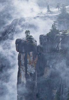 Crag and fog