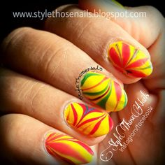 Style Those Nails: Summer Water Marble Nailart and Tutorial- Welcome Back Summer ! #stnchallenges #popularsummernails #summernails #watermarblenailart #nailart