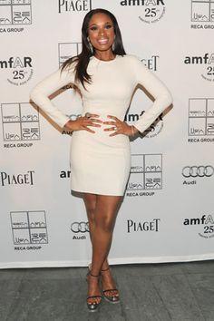 Jennifer Hudson in Michael Kors - Simple long sleeve white dress for work.
