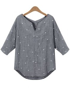 Elegant V-Neck Star Print 1/2 Sleeve Blouse For Women