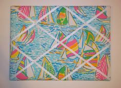 New Memo board mw Lilly Pulitzer Multi You Gotta Regatta fabric. $38.00, via Etsy.
