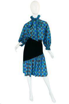 1970s Print & Velvet Yves Saint Laurent Peasant Top & Skirt