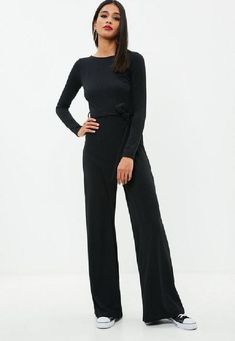3174c81fb8a Black ribbed jumpsuit with round neck