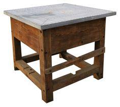 Wood and Zinc Kitchen Work Island