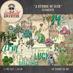 Saint-Patrick's Day digital scrapbook elements, digital download, vintage ephemera, clover, Irish green, artsy digital scrapbooking word art