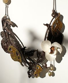 Prélude , 2012  Materials: Carved wood, silver, enamel, quartz, pearl, moonstone