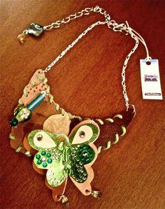 Collana Necklace Donna In Pelle Realizzata A Mano Forest