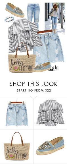 """denim"" by ilona-828 ❤ liked on Polyvore featuring Current/Elliott, Caroline Constas, Straw Studios, René Caovilla, Shamballa Jewels, denim and shein"