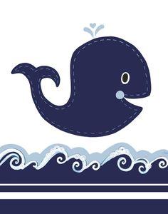 Whale nursery, Nautical Nursery, Ocean bathroom, Personalized Kid's art, Navy Boy Nursery, baby art, kids wall art, children decor. $17.00, via Etsy.