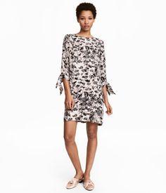 Knælang kjole   Pudder/Mønstret   Dame   H&M DK