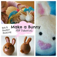 Easter Bunny Ball : Waldorf Felted Wool Ball TUTORIAL  (Learn to Wet and Needle Felt PDF FILE)