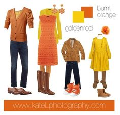 Goldenrod/burnt orange outfit inspiration: what to wear for a family photo session in the fall. Created by Kate Lemmon, www.kateLphotography.com