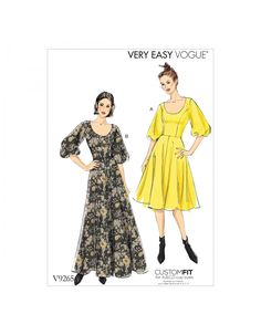 Vogue Patterns Sewing Pattern Misses' Princess-Seam, Flare Dresses with Poof Sleeves Vogue Patterns, Easy Sewing Patterns, Vintage Sewing Patterns, Sewing Ideas, Sewing Crafts, Miss Dress, Fashion Catalogue, Dress Robes, Princess Seam
