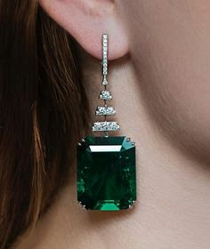 An exceptional pair of Colombian emerald earrings weighing 42.45cts and 40.41cts estimate $1-1.5m. Magnificent Jewels, Geneva @christiesjewels @christiesinc