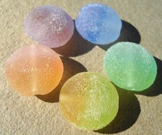 Naked Sugar Beach Rainbows handmade lampwork lentil bead by Genea