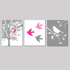 Bird Nursery Art Prints, Modern Bird Art, Set of Three Bird Prints or Bird Canvas Art, Bird in a Tree Print, Adult Bedroom Decor Nature Art Bird Nursery, Nursery Art, Nursery Decor, Nursery Prints, Wall Decor, Aqua Nursery, Nursery Canvas, Bedroom Prints, Bedroom Wall