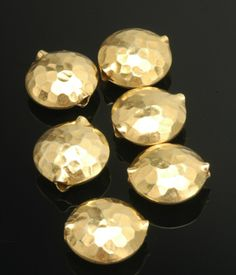 Gold Vermeil Hammered Domed Disc 17x8mm
