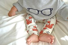 organic cotton leggings in geometric sitting fox, baby leggings, gender neutral, modern clothing on Etsy, $34.00