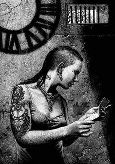 """Stealing Time"" - Ruth Sanderson, scratchboard, 2016 {tattooed female prisoner reading letter} goldenwoodstudio.com"