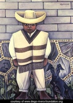 Boy With a Dog, Diego Rivera (Mexican, Diego Rivera Art, Diego Rivera Frida Kahlo, Frida And Diego, Matisse, Picasso, Statues, Mexico Day Of The Dead, Clemente Orozco, Social Realism