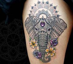 Perfect Mosaic Elefant and Mandal tattoo arts by tattoo artist Coen Mitchell   Post 14563   World Tattoo Gallery - Best place to Tattoo Arts