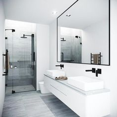 Bathroom decor for the master bathroom remodel. Discover bathroom organization, bathroom decor tips, bathroom tile a few ideas, master bathroom paint colors, and much more. Modern Bathroom Design, Bathroom Interior Design, Bathroom Designs, Contemporary Bathrooms, Minimalist Bathroom Design, Modern Contemporary, Modern Bathroom Inspiration, Modern Luxury Bathroom, Modern Small Bathrooms