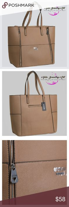 """Guess Women's Handbag Tote Bluebird Camel Fabulous Guess handbag with dual handles and silver hardware, camel color, top zip closure, four interior slip pockets, front zips to expand size. 18"""" X 12"""" X 7"""" inches Guess Bags Totes"""