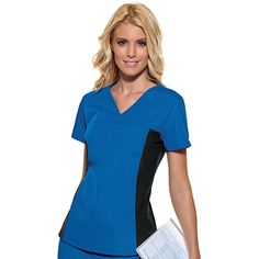 Cherokee We/'re Owl In Line V-Neck Knit Panel Top Print Scrubs