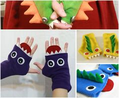 fingerless monster gloves - so cute! I'm thinking put some little stretch gloves under them for warmth :D Fleece Projects, Easy Sewing Projects, Sewing Tutorials, Sewing Crafts, Dress Tutorials, Sewing For Kids, Baby Sewing, Monster Gloves, Fleece Patterns