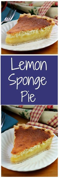 Bake a taste of Pennsylvania Dutch Lemon Sponge Pie. While baking, the pie separates into two layers, a soft topping while underneath a creamy lemon filling by margie Dutch Desserts, Lemon Desserts, Lemon Recipes, Just Desserts, Sweet Recipes, Amish Recipes, Pie Recipes, Yummy Recipes, Cake