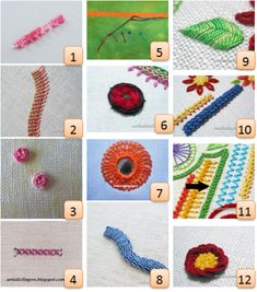 (1) Buttonhole stitch with picot from Big B (2) Diagonally striped raised band from Needle 'n' Thread (3) Stem stitch rose with knotted center from from Humming Needles (4) Lock stitch …