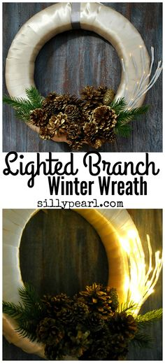 Easy and quick DIY lighted branch winter wreath to display all season long. Yes, it lights up!