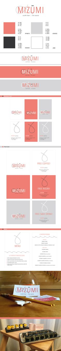 """This project was born both from passion of sushi and of graphic design. Mizūmi has been created for a homemade sushi bar. The name means """"lake"""" in the japanese language and calls to mind the place where it was born: Lake Como."""