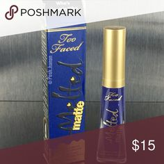 Too faced melted Matte liquefied lipstick What it is:  A lightweight, long-wearing liquified matte lipstick with a creamy and matte, color-rich formula.  This product is cruelty-free and free of gluten. Color: who's zoomin who - matte deep sapphire Too Faced Makeup Lipstick