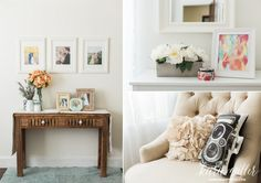 Kara Miller Photography Studio Office Mint White Gold Target Paper Source Anthropologie Candle Rollei Camera Pillow Console Table Frames