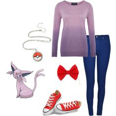 Espeon by smilelikeyoucan on Polyvore featuring Viyella, Ally Fashion and Converse